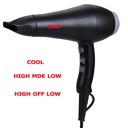 MHU 1800W Far Infrared Hair Dryer Ionic Blow Dryer 2 Speed 3 Heat Cool Button 2.65M Salon Cable Powerful