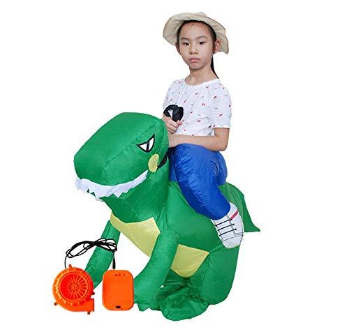 ASKEN Männer Frauen Aufblasbare Dinosaurier Kostüme Halloween Karneval Ridding Huckepack Drachen Cosplay Outfit Grün Children Size