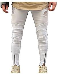Juleya Jeans hombre pantalones de mezclilla Slim Fit Stretch Skinny Denim Jeans agujeros Jeans destruidos elásticos… wAfsRrVG2
