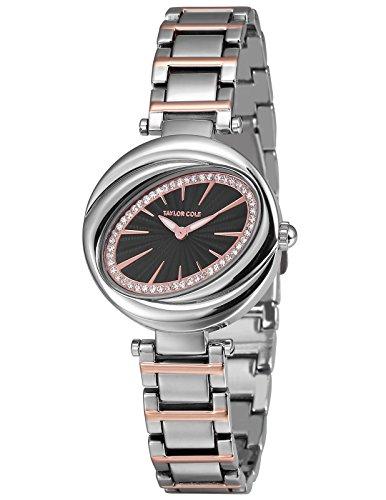Taylor Cole Luxus Runde Kristall Blütenblatt Oval Dame Schlank Japan Quarz Movt Stahl Band Armband Uhr Frauen Uhr TC099 (- Movt-uhr Quarz)
