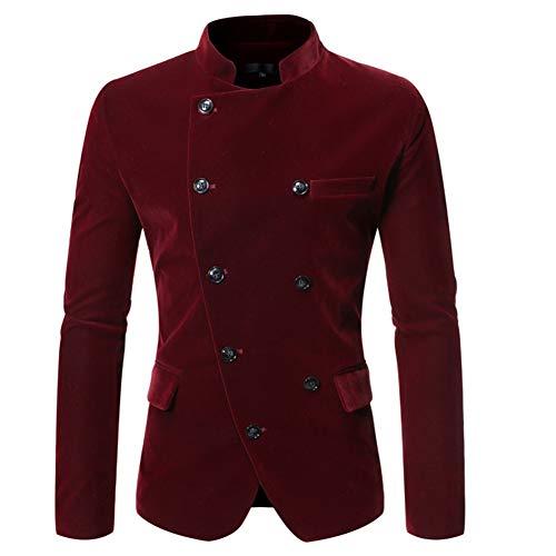 LSYGB Herrenanzug Jacke Blazer, Mode Stehkragen Slim Fit Beiläufiges Revers-Blumendruck, Geeignet für Weihnachten, Hochzeit, Party, Host, den Alltag,Rot,XL