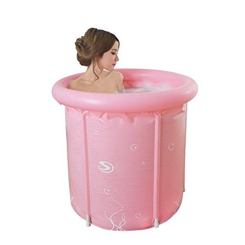Bañera Hinchable para Adultos Bañera Plegable Portátil con Bomba De Aire Eléctrica Cómodo Barril De Baño Home SPA Baño De Masajes SPA 150 litros,Pink