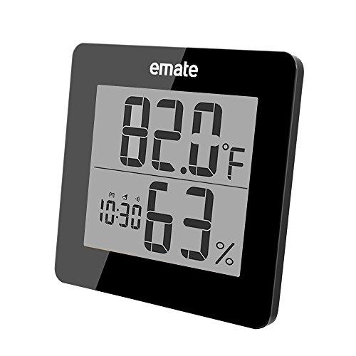 Digitaler Thermometer mit Hygrometer, Hygrometer Luftfeuchtigkeit, Raum Thermometer mit Extra Großem LCD Display und Weckalarm mit Snooze-Funktion(Schwarz)