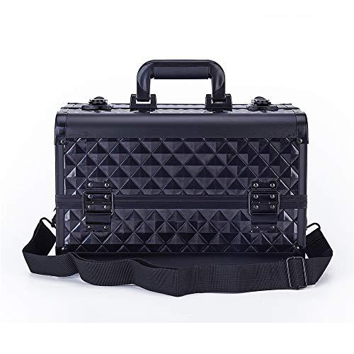 Kosmetikkoffer 15 '' Makeup Train Case Large 4 Tray Professionelle Organizer Box - Cosmetic Make Up Carrier mit Schloss und Schlüssel Trageband und verstellbaren Trennwänden für Studio Artist & Stylis