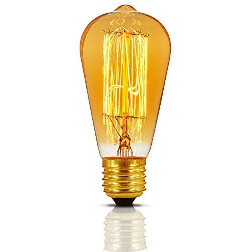 100w Glühbirne Lumen (Lumaland Edison Glühbirne ST64 230 Volt 40 Watt 2200 Kelvin warmweiß Vintage Retro Glühlampe und Stimmungsleuchte einzeln gold)