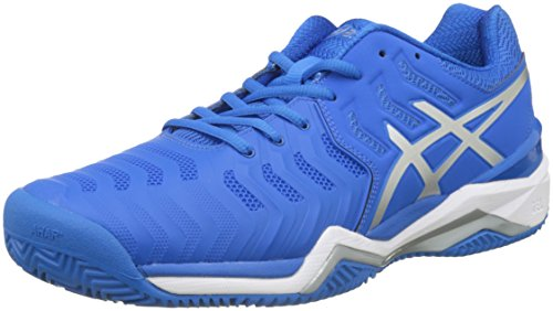 Asics Herren Gel-Resolution 7 Clay Gymnastikschuhe, Mehrfarbig (Directoire Blue/Silver/White), 44.5 EU