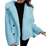 KUDICO Damen Mäntel Plüsch Winter warme Parka Jacke solide Outwear Cardigan über Mantel Ober Mantel Coat(Braun, EU-38/CN-L)