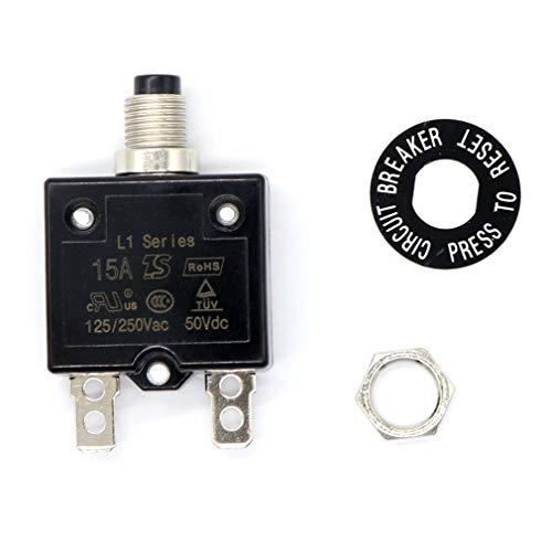 Rated Circuit Breaker (leoboone Manueller Reset Circuit Breaker Überlastschutz Standard-Panel montiert Push-30.5 AMPS mit Nummernschild Schraube Ring Zurücksetzen)