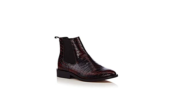 76077aa6986 J by Jasper Conran Womens Dark Brown Leather Croc-Effect Chelsea Boots   Amazon.co.uk  Shoes   Bags