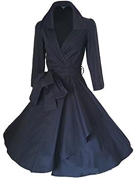 WintCO Damen Vintage Mantel Kleider formal Mantel mit Gürtel V-Ausschnitt Retro Kleid Audrey Hepburn Kleid