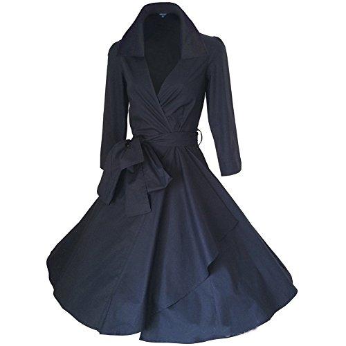 WintCO Damen Vintage Mantel Kleider formal Mantel mit Gürtel V-Ausschnitt Retro Kleid Audrey Hepburn Kleid (M, schwarz)