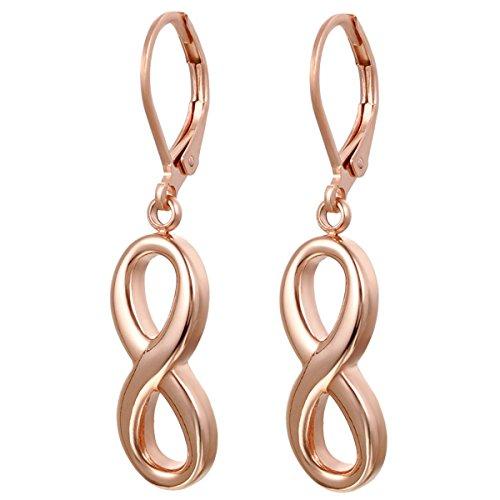 JewelryWe Boucles d'oreilles Symbole Infini Infinity Paix 8 Amour Acier Inoxydable Bijoux Cadeau pour Femme Couleur Argente Rose Or