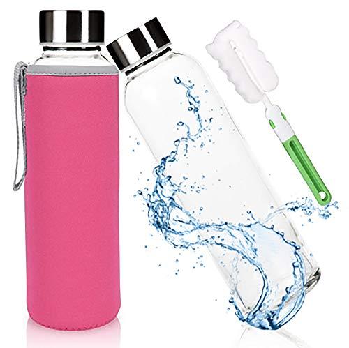 Glasflasche Trinkflasche Classic Tragbare 550ml BPA-frei für unterwegs Sportflasche Glas Wasserflasche zum Mitnehmen von kalten Getränken mit Neopren Tasche und Schwammbürste (rot Rosa)