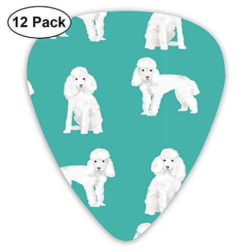 Toy Poodle White Simple Dog Breed Turquoise Classic Celluloid Picks, 12-Pack, For Electric Guitar, Acoustic Guitar, Mandolin, And Bass