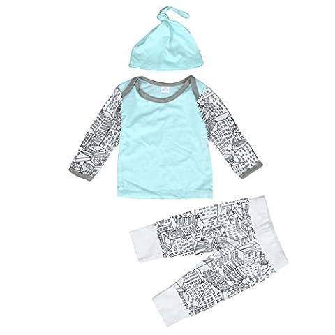 Bekleidung Longra 1Set Baby jungen Mädchen Outfit Kleidungset Langarm drucken T-Shirt lange Hosen Hute(0 -24 Monate) (70CM 0-6 Monate)