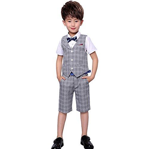 4 Stück Jungen Sommer Hochzeit Freizeit Anzug Weste Shirt Short mit Bowtie (grau, 164) -