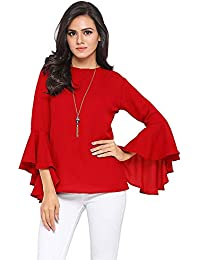 fd0f4c7cb57ee4 Istyle Can Women s Top (Crepe top with Flute Sleeves)