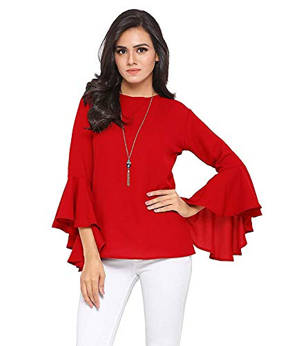 Istyle Can Women's Top (Crepe top with Flute Sleeves) (Red, Medium)
