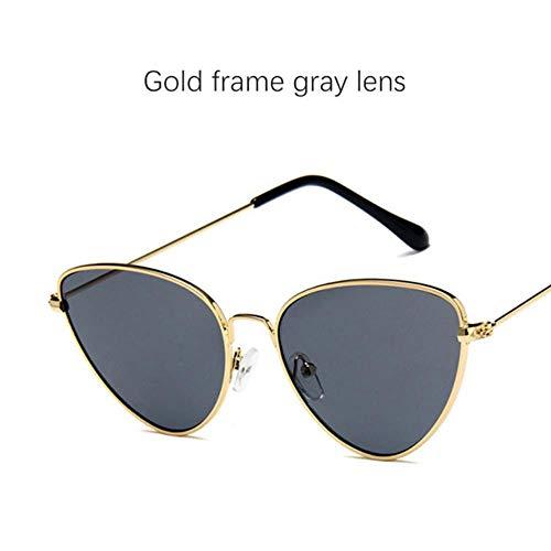 Loving Bird Triangle Black Sonnenbrille Damen Retro Cat Eye Sonnenbrille Gelb Rot Ocean Lens Sommerbrille für Damen Metal Eyewear UV400, Gold-grau