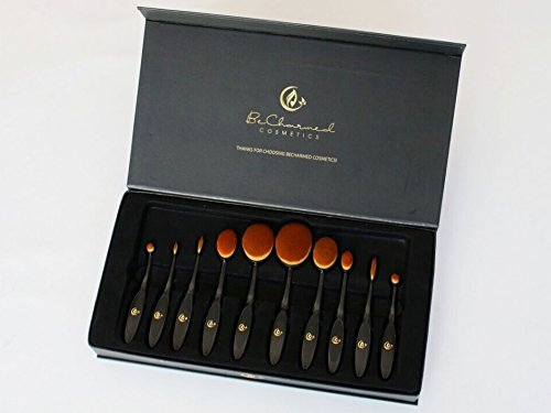 Lot de 10 pinceaux de maquillage professionnels + support de présentation en acrylique noir inclus - Pinceaux ovales uniques pour mélanger, appliquer le fond de teint, l'anti-cernes, le blush, le contour, le maquillage liquide et en poudre, l'eye-liner - Boîte cadeau incluse
