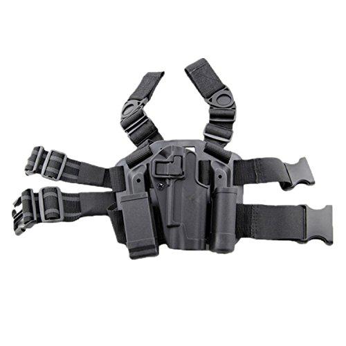 haoYK Einstellbare Tactical Airsoft Pistol Drop Bein Holster Tasche Oberschenkel Rechten Bein Holster mit Magazin Taschenlampe Beutel für Colt 1911 M1911 (Black)