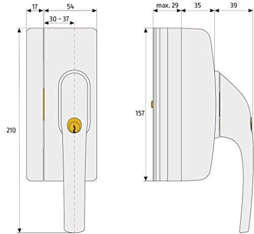 ABUS Fenstergriff-Schloss FO400A mit Alarm, gleichschließend, weiß, 33270 - 3