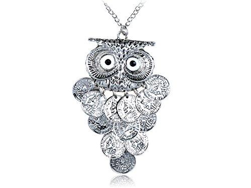Alilang Dangle Münz Körper Big Eyed Owl Bird Metallic Alloy Ton Kostüm Pendant Halskette