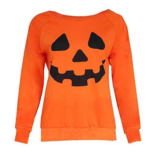 VRTUR Damen Halloween Freizeit Langarmshirt mit Ghost Print Sweatshirt mit Schulterfreien Schultern Top Langen ÄrmelnT-Shirt Top(XL,X-Orange)