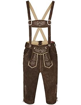 Herren Trachten Lederhose Kniebundhose mit Trägern, Trachtenlederhose in Größe 46 bis 60