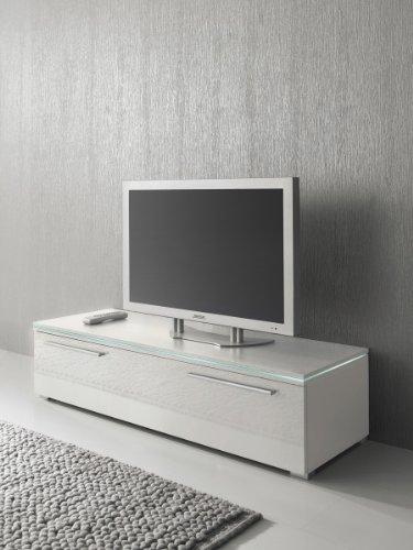 Lowboard TV Schrank 120 cm weiß Fronten Hochglanz, optional LED-Beleuchtung, Beleuchtung:Beleuchtung Weiß