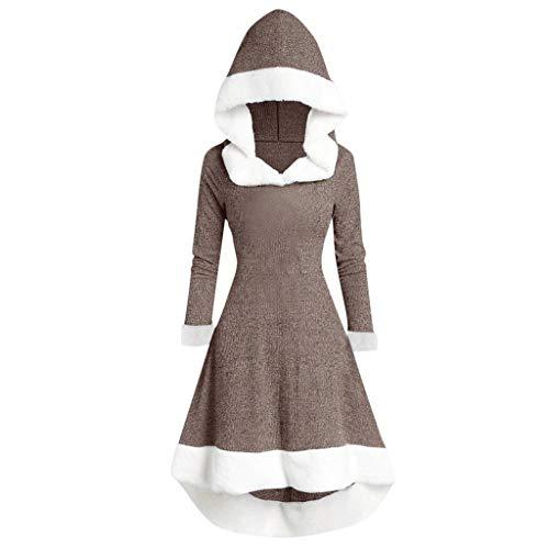 Auiyut Damen Weihnachten Kleid Smoking Kleid Vintage Frack Mantel Partykleid Schminkparty Kostüm Plüsch Patchwork Weihnachten Theme Cosplay Kleid mit Plüschkante Rot Weihnachtsmann Kostüm