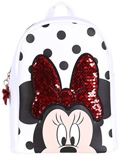 Disney Damen Minnie Maus (Weißer Rucksack Minnie Maus mit Pailletten)