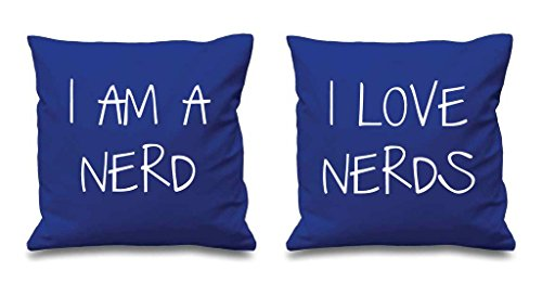 I AM A Nerd I Love Nerds Bleu Housses de coussin 40,6 x 40,6 cm Couples Coussins Saint Valentin Anniversaire de mariage Chambre à coucher Coussin décoratif Maison