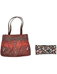 JHD Red Shoulder With Black Hand Bag Set Of 2 Pcs Combo