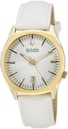 Bulova 97B131 Unisex Accutron II Surveyor Champagne Dial White Leather Strap Watch
