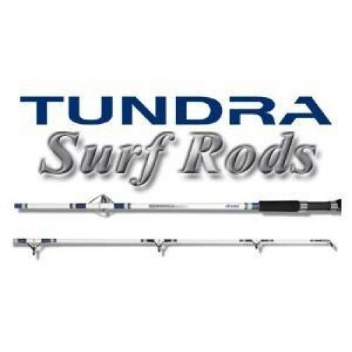 Okuma White/Blue Tundra Surf Glass Spinning 2 Piece Rod - EVA Grips For Comfort