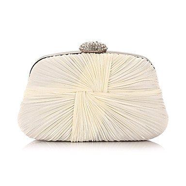 Frauen Chiffon Rüschen formale Veranstaltung/Party Hochzeit Abend Tasche Kupplung Umhängetaschen Cream