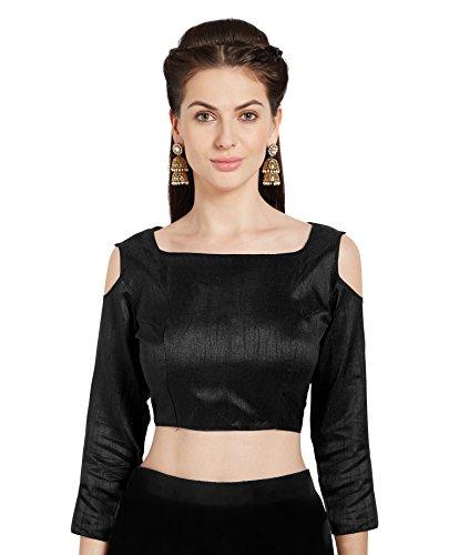 Frauen schwarz Kunst Seide Readymade Partywear Saree Bluse Choli kalte Schulter Mirchi Fashion Top (Seide Aus Schulter-bluse)