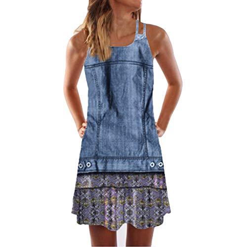 VEMOW Sommer Elegante Damen Frauen Lose Vintage Sleeveless 3D Blumendruck Bohe Casual Täglichen Party Strand Urlaub Tank Short Mini Kleid - Chiffon, Stretch-bustier