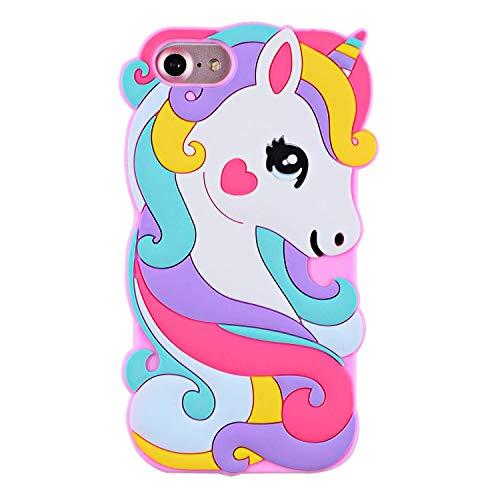 SevenPanda Einhorn Case für iPhone 5 5S SE, Weiches Gummi Silikon 3D Niedlichen Cartoon Rosa Einhorn Pferd Tier Muster Schutz Durable Stoßfänger Hülle Deckung für Kinder Mädchen Teens Damen - Rosa