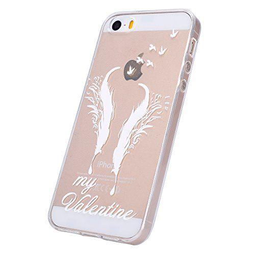 Coque iphone SE Flexible Souple Case,iphone 5s Housse Étui Transparente,Ekakashop Ultra Mince Coque de Protection en Soft TPU Silicone avec Motif Dentelle Diagonal Protecteur Back Flexible Gel Case Co Deux Plumes