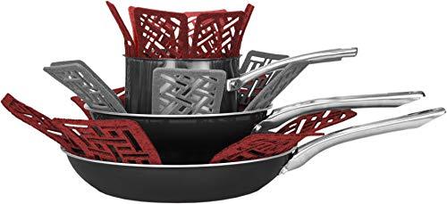 Cuisinart Topf- und Pfannenschutz, 5 Stück, verhindert, dass Kochgeschirr Kratzer und Schrammen bekommt, dicker Filz Kochgeschirr, Topfschutzpads schützen vor Schäden während der Aufbewahrung