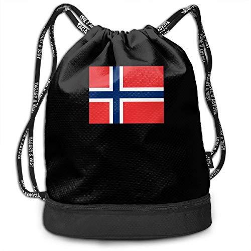 Norwegische Flagge Kordelzug für Herren und Damen, 100% Polyester Original Rucksack