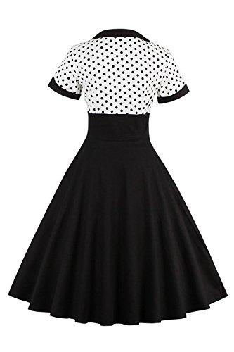MisShow Damen Vintage 1950s Kurzarm Abendkleid Rockabilly Swing Kleid Polka Dots Petticoat Kleid Weiß 3XL - 2