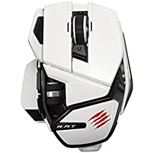 Mad Catz R.A.T - Ratón (gaming, 10 controles programables), blanco