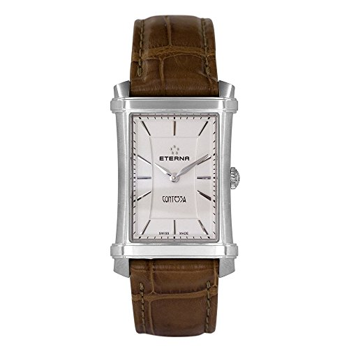 Eterna Women's Quartz Watch with White Dial Analogue Display and Brown Leather Strap 2410.41.61.1248