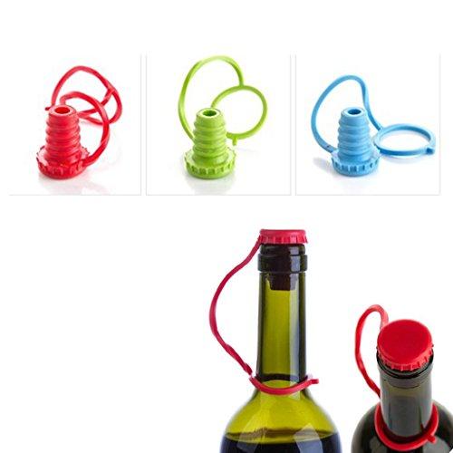 Flaschenverschluss Silikon Flaschenkorken 5 Packungen wiederverwendbare Silikon Wein Bier Sealer Abdeckung Weinflaschenverschluss Set - zufällige Farbe