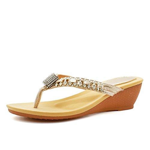 London Footwear - Retro aperto donna Gold