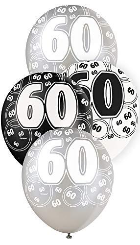 Unique Party Paquete de 6 Globos de látex de 60 cumpleaños, Color Negro, Edad (80897)