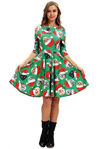 ten Halloween A-Linie Weihnachtskleid Printing Partykleid Swing Kleider Weihnachts Frauen Kleidung BGE-010 M ()